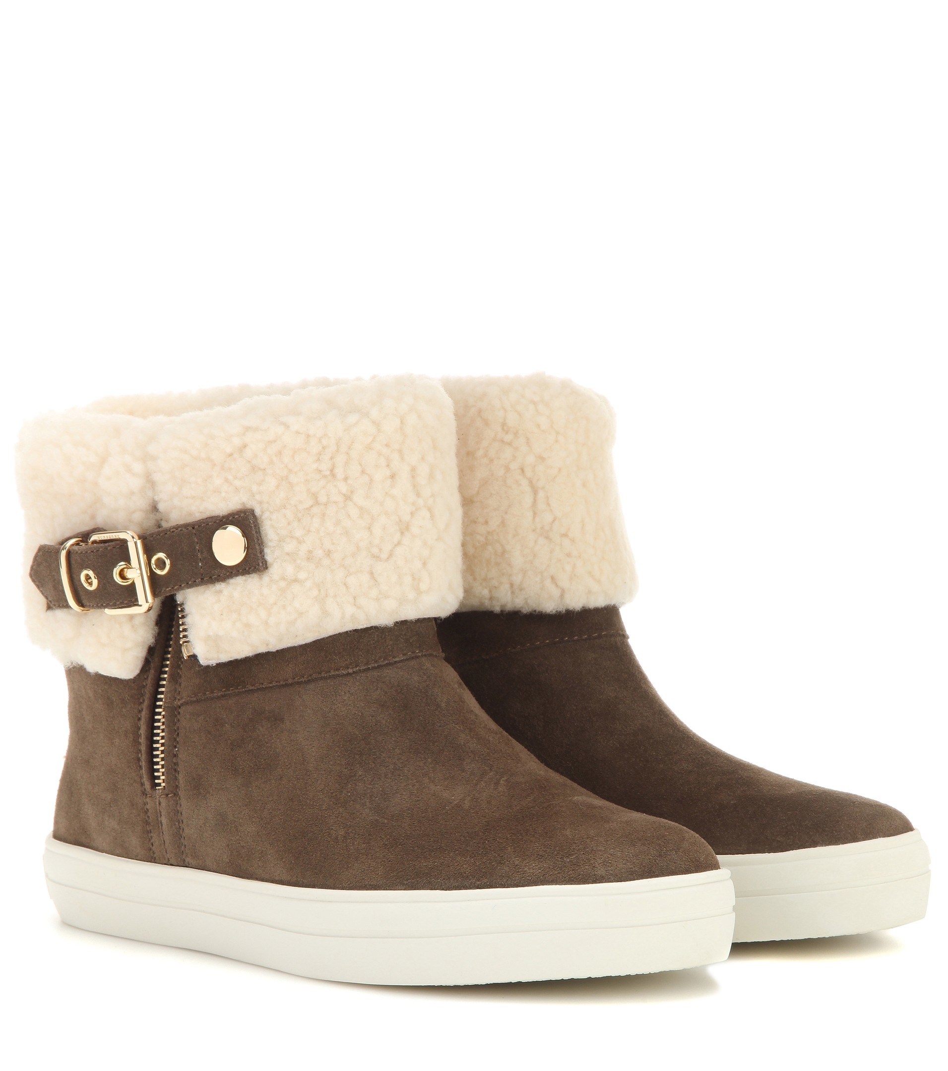 Burberry brit Skillman Suede and Shearling Boots in Natural | Lyst