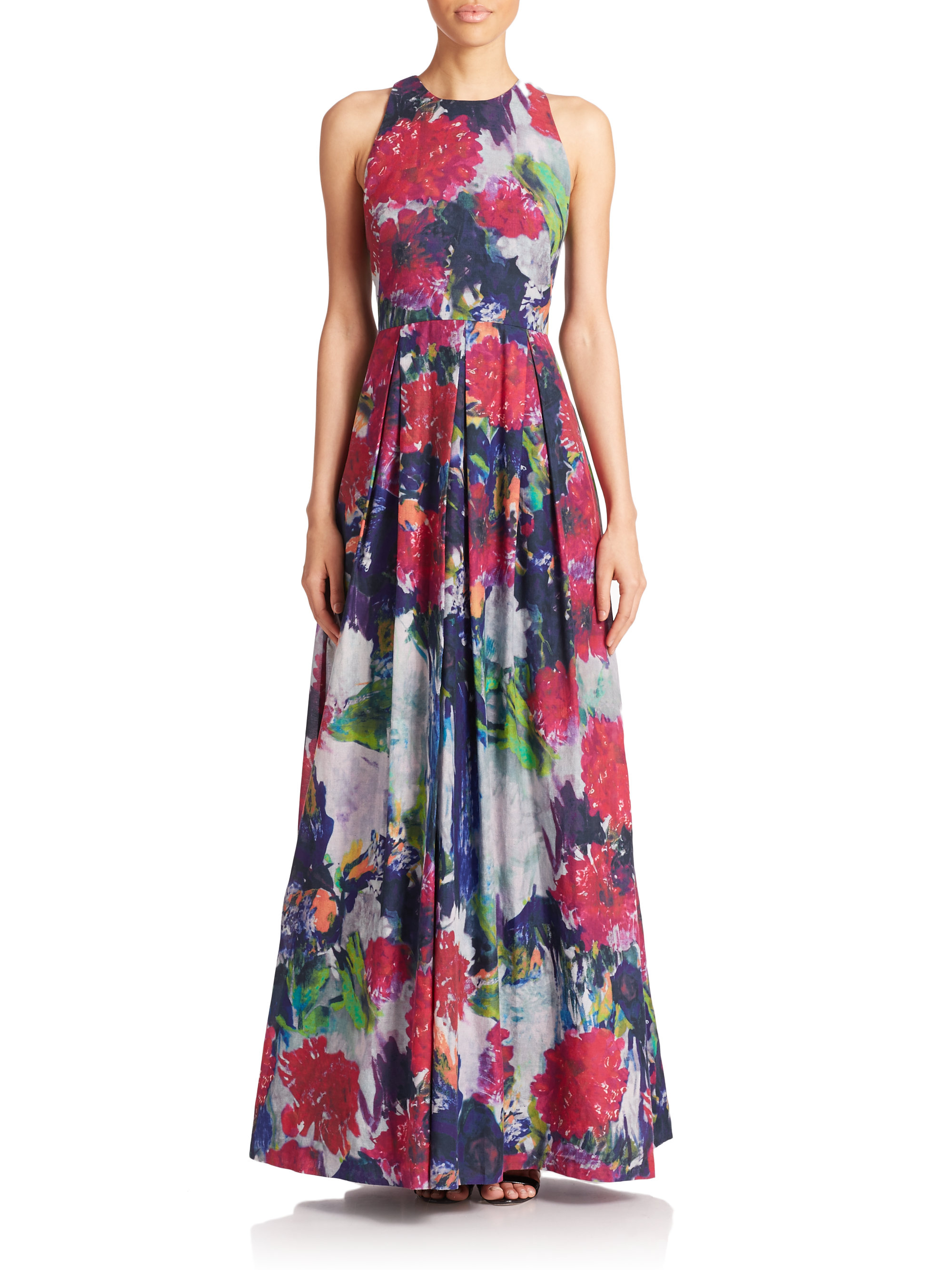 Phoebe Floral Silk/Cotton Maxi Dress | Lyst