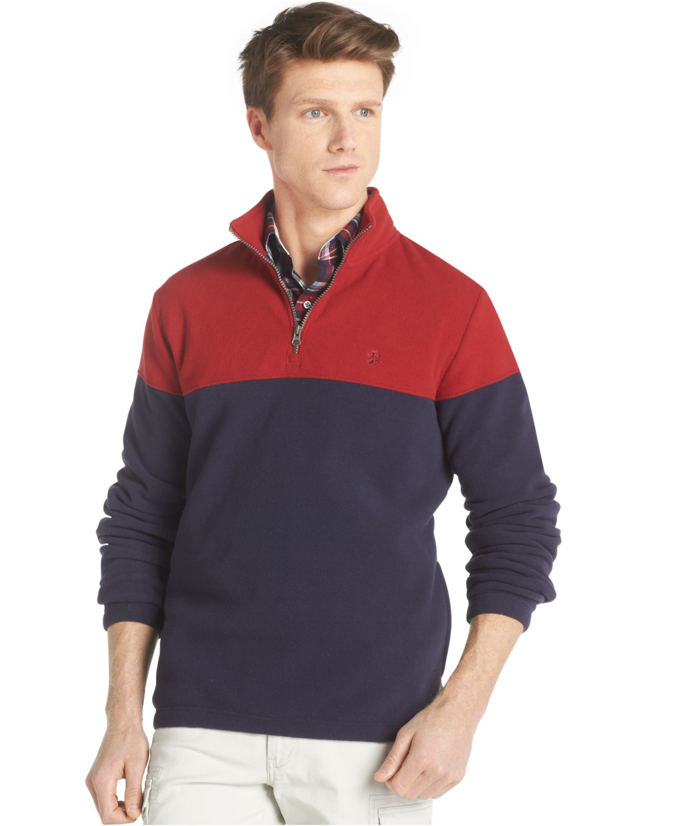 Izod Colorblocked Polar-Fleece Quarter-Zip Sweater in Red for Men ...