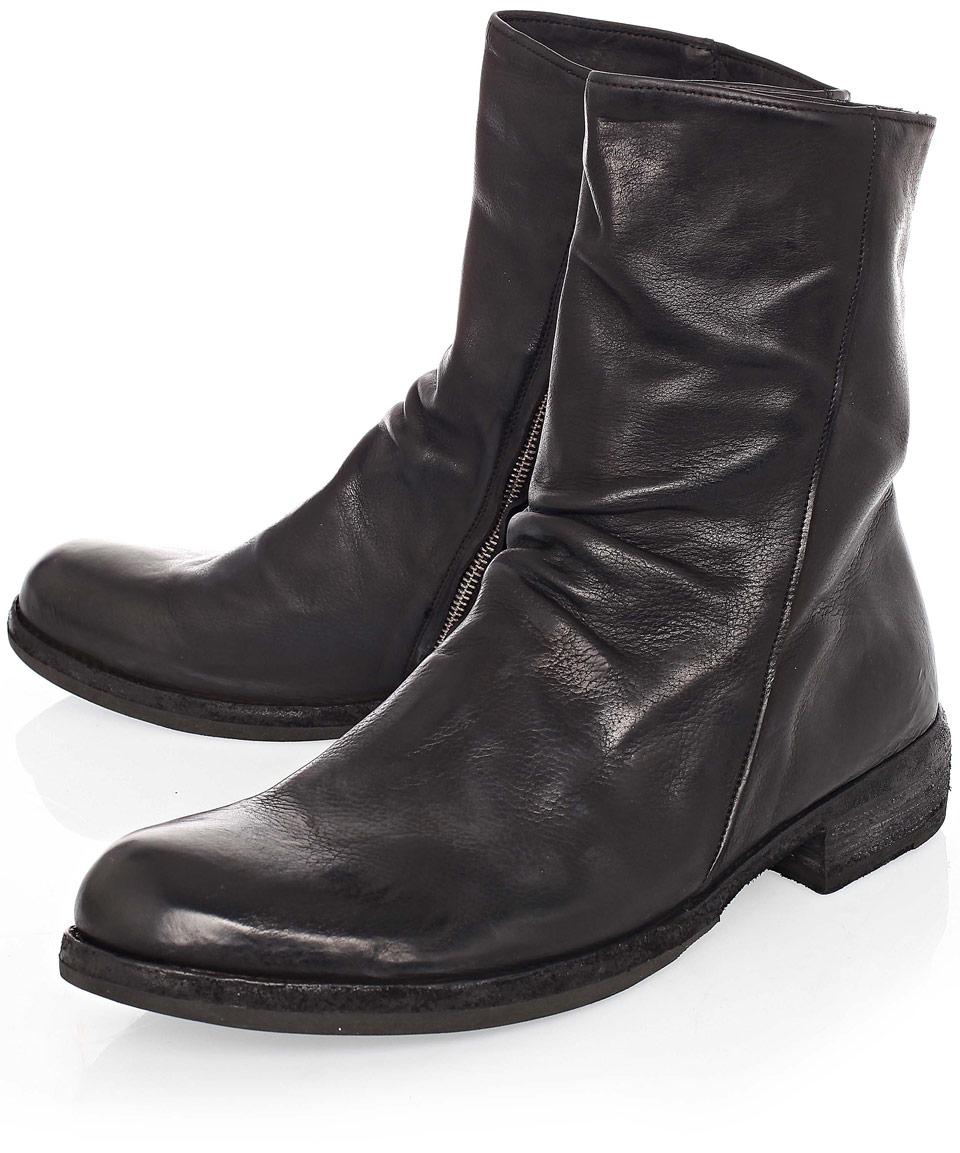 Lyst Officine Creative Black Bubble Slouch Zip Leather