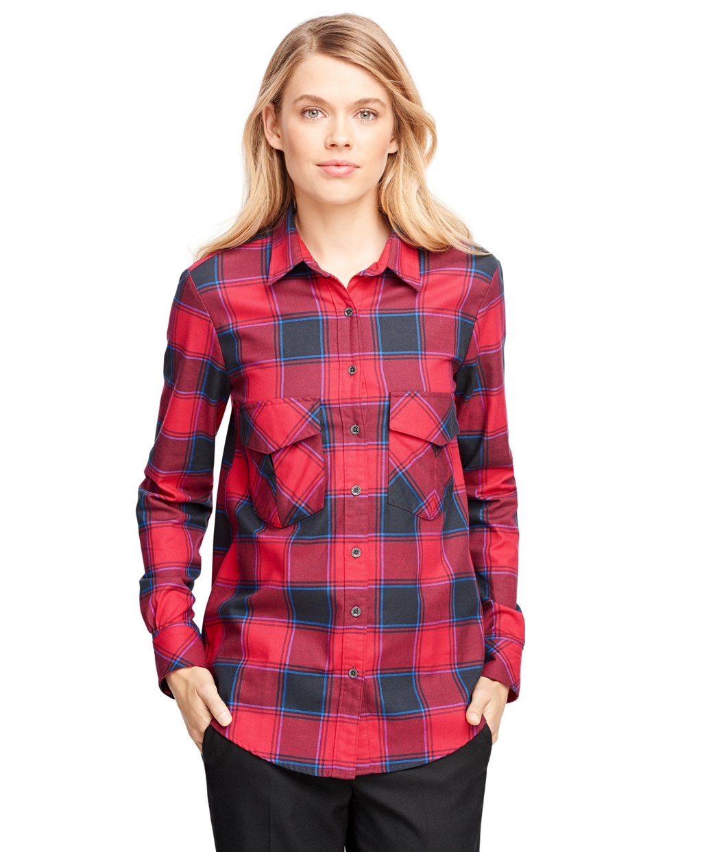 Lyst brooks brothers flannel buffalo check shirt in blue for Buffalo check flannel shirt jacket