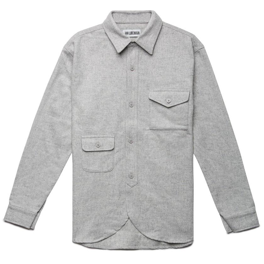 Han Kjobenhavn Grey Army Shirt In Gray For Men Lyst
