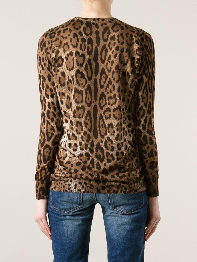 Dolce & gabbana Leopard Print Cardigan in Brown | Lyst