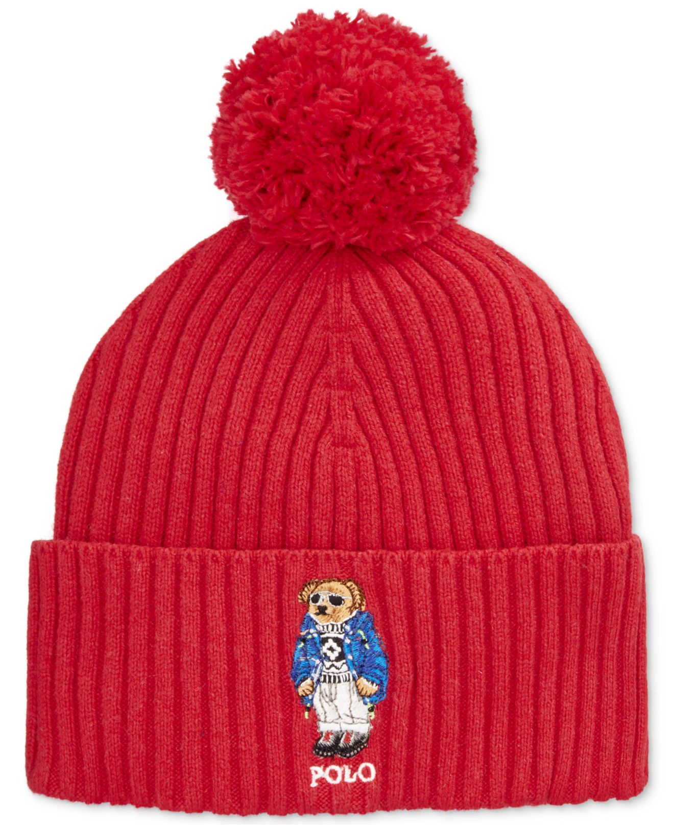 07e49c2ee2d78 Polo Ralph Lauren Ski Bear Pom-knit Cuffed Beanie in Red for Men - Lyst