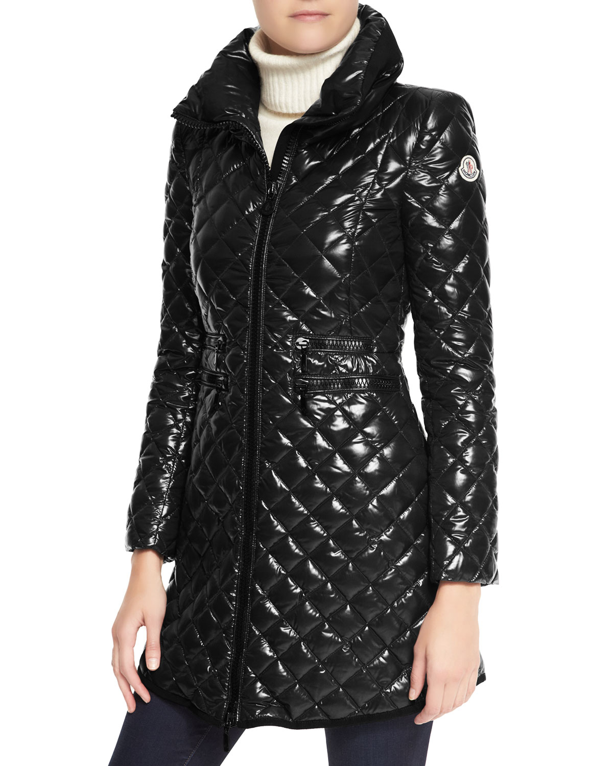 Moncler Bellette Fur Trim Puffer Coat In Black Lyst