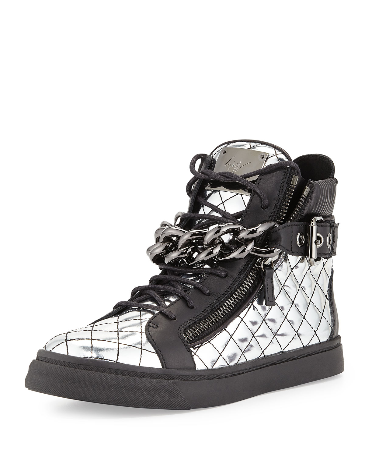 0c784deae048 Lyst - Giuseppe Zanotti Mens Quilted Metallic-Leather Chain High-Top ...