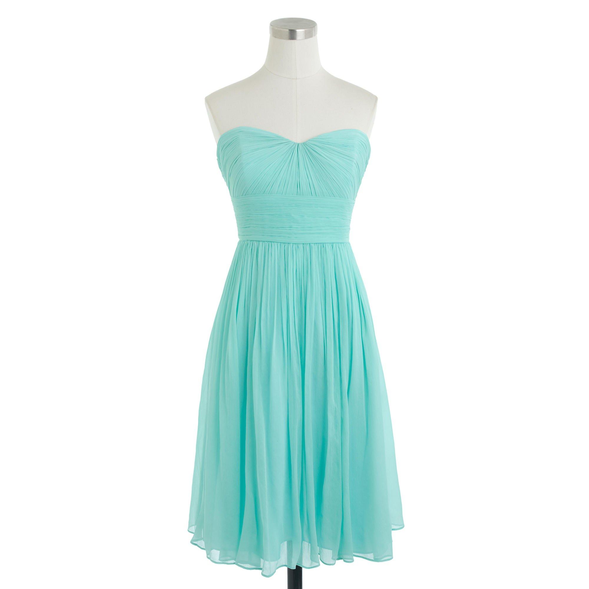 J.crew Marbella Strapless Dress In Silk Chiffon in Blue  Lyst