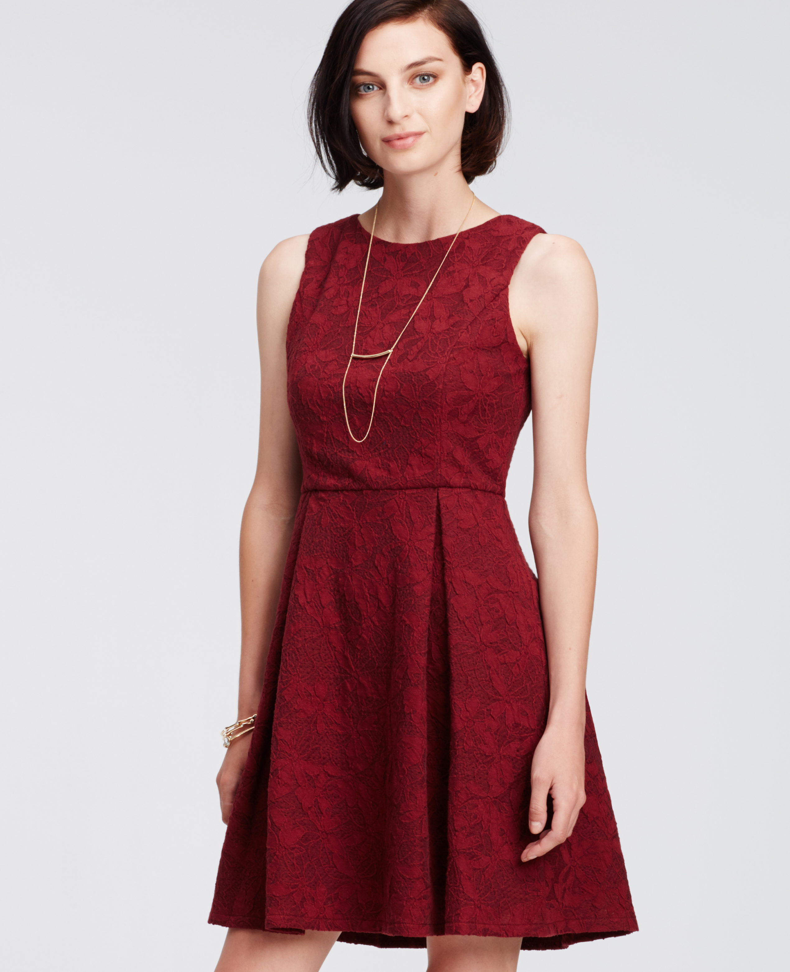 Ann Taylor Floral Jacquard Flare Dress In Red Lyst