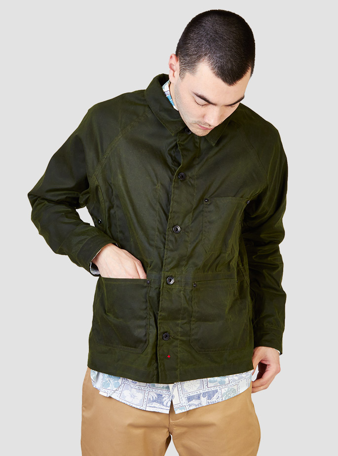 Apolis Waxed French Work Jacket In Green For Men Lyst