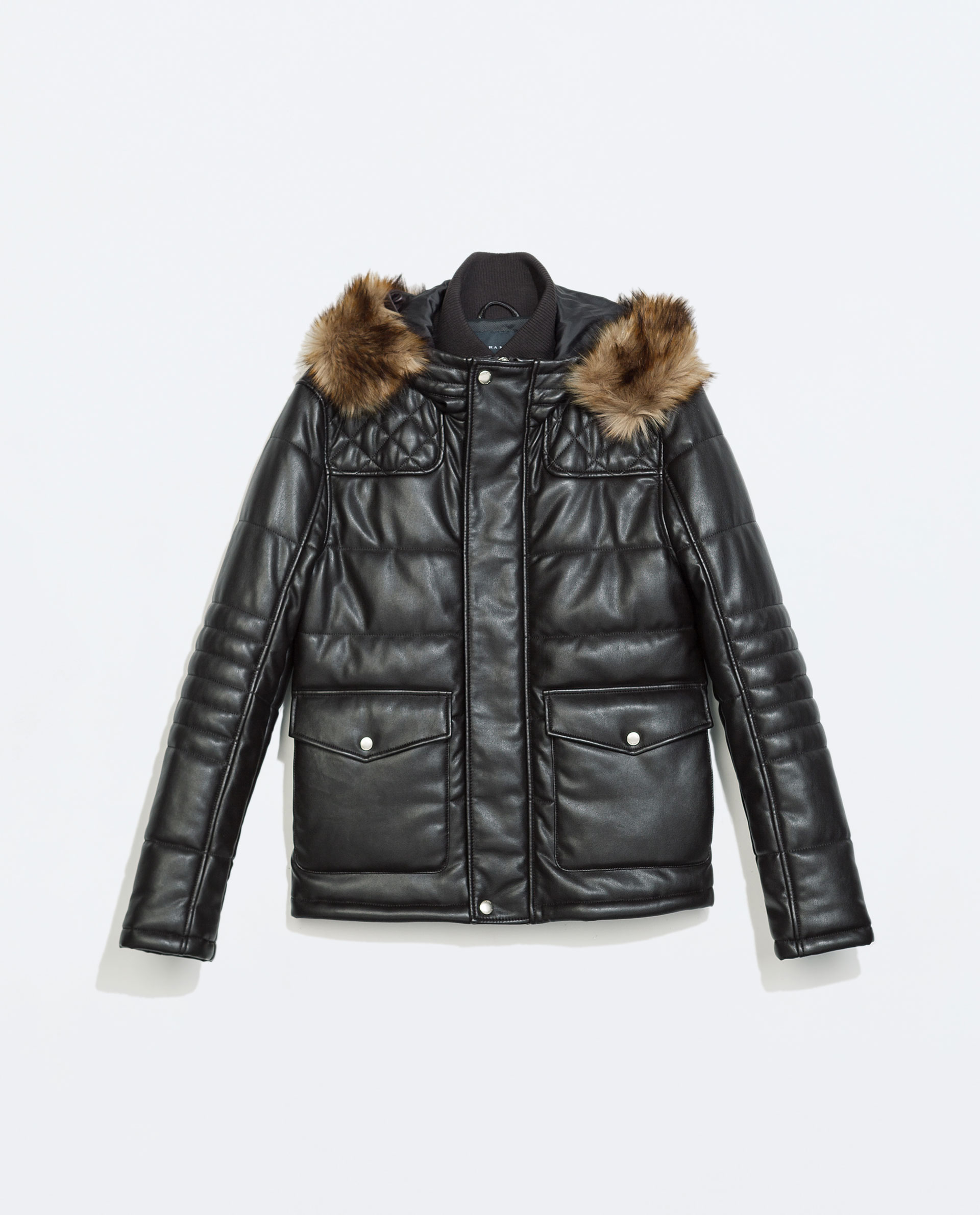Zara Faux Leather Jacket With Fur Hood in Brown for Men | Lyst