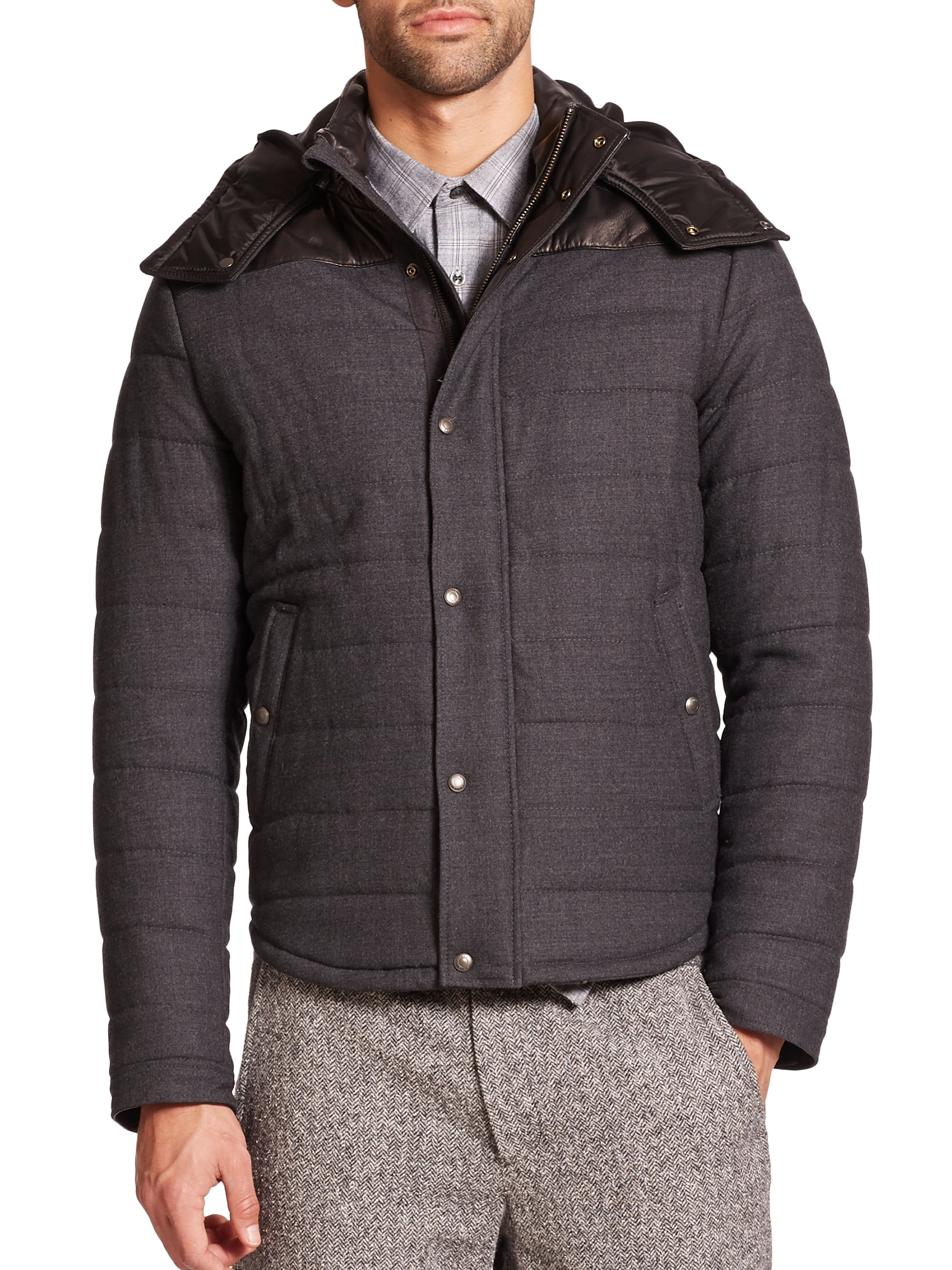 Vince Leather Hood Quilted Wool Jacket In Black For Men