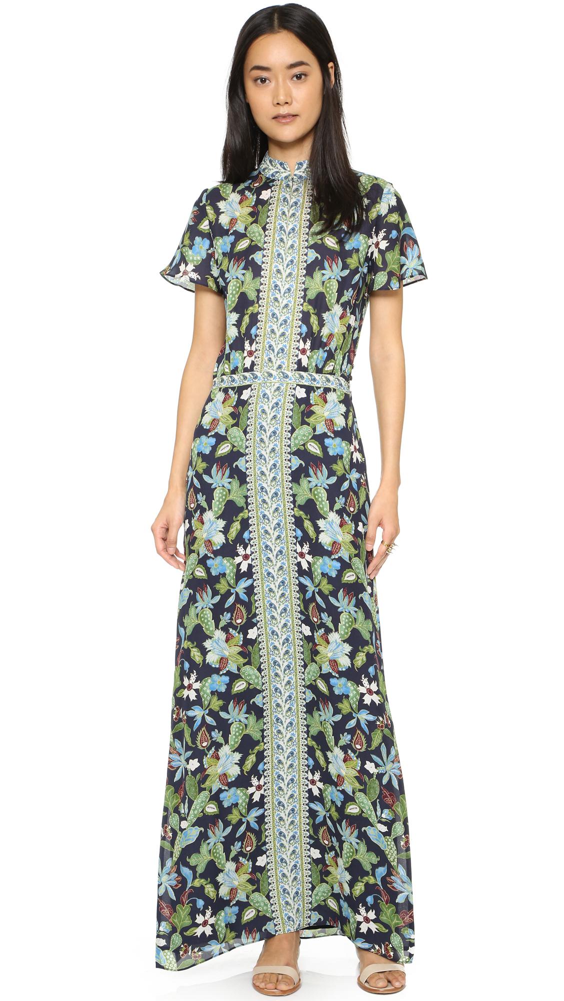 Lyst Tory Burch Printed Silk Chiffon Maxi Dress In Green