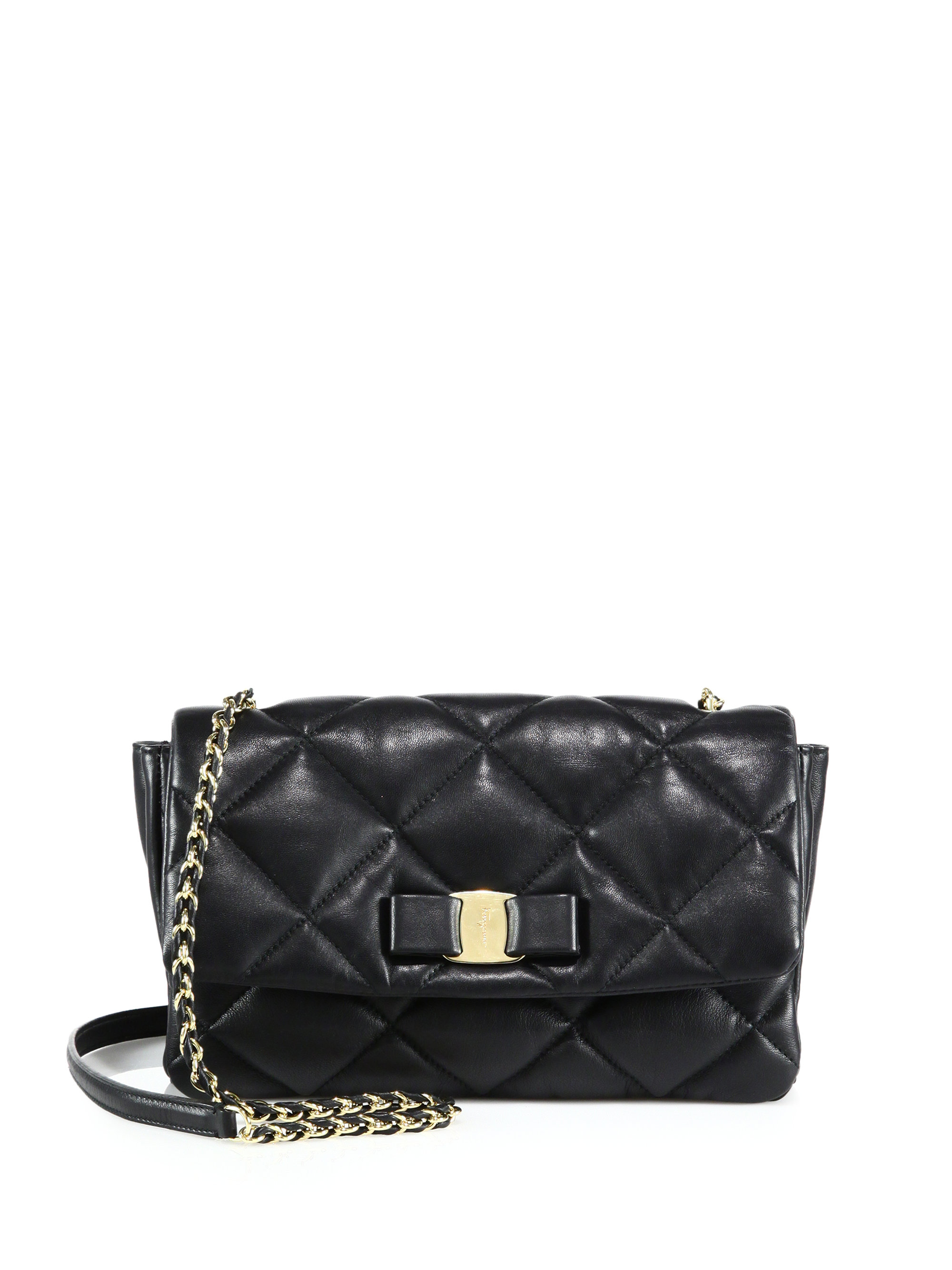 Lyst Ferragamo Vara Quilted Leather Flap Bag In Black