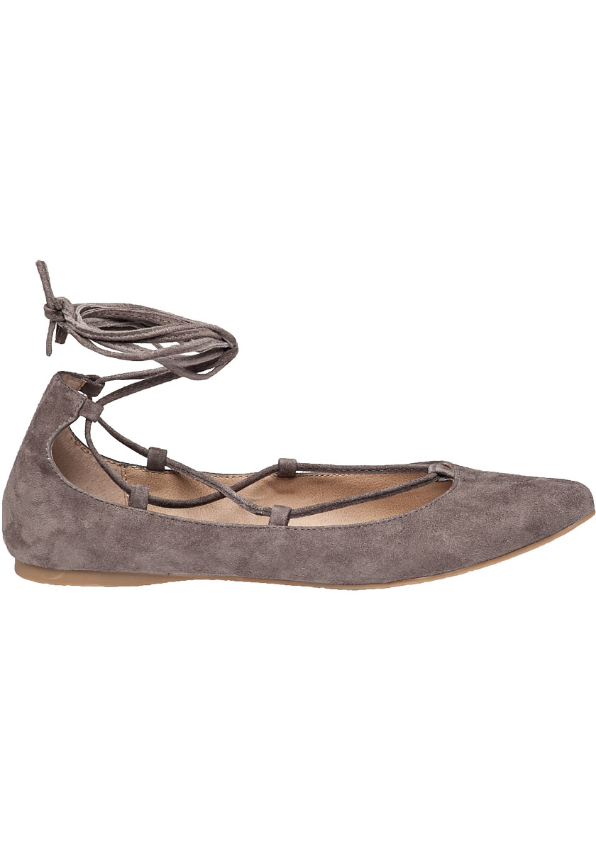 6a03fcd3078 Lyst - Steve Madden Eleanorr Lace-Up Suede Ballet Flats in Brown