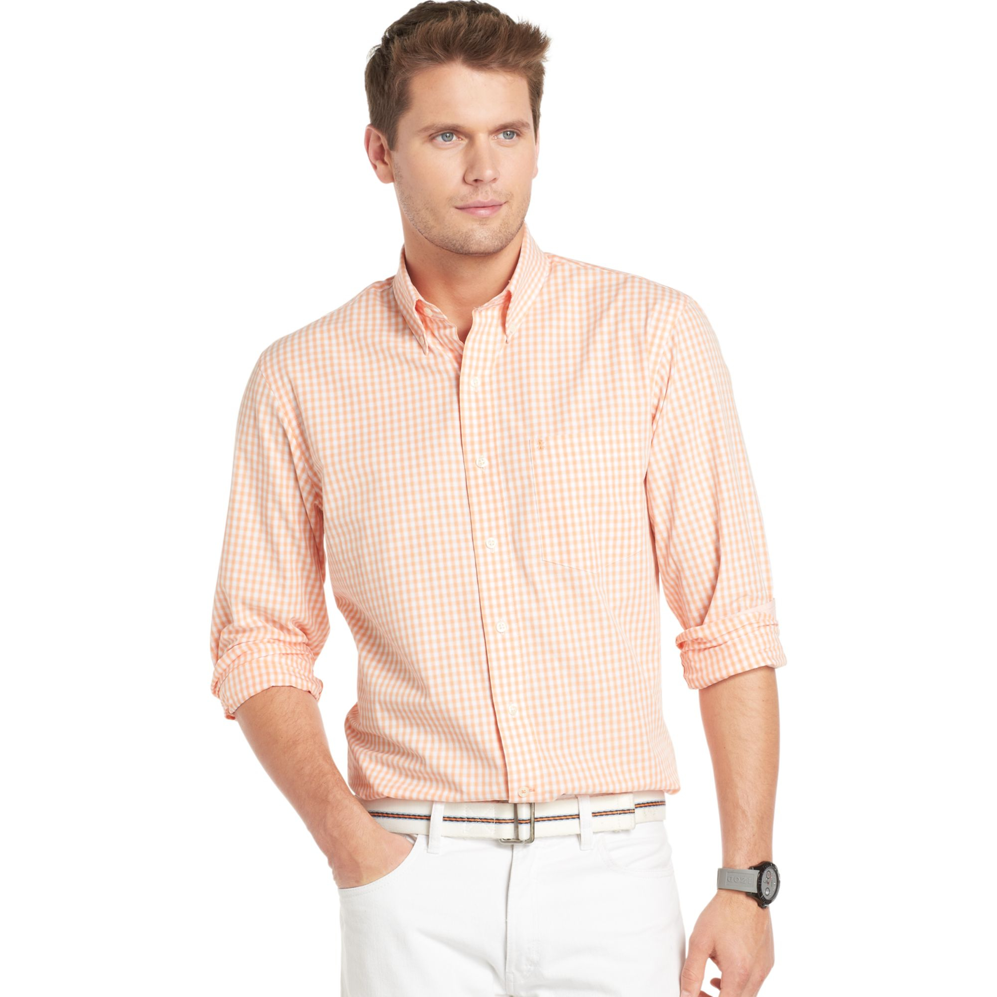 Izod big and tall essential shadow gingham shirt in orange for Izod big and tall essential solid shirt