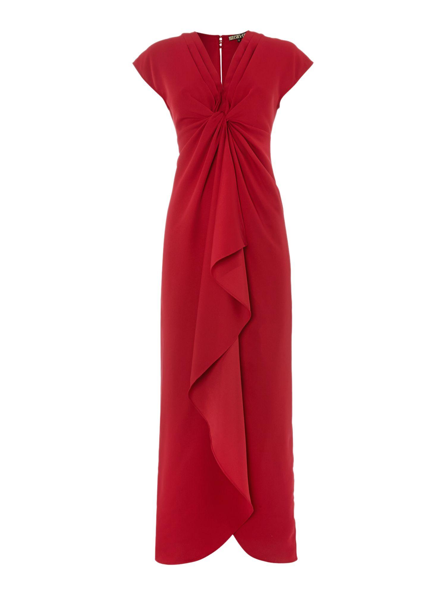 Biba waterfall maxi dress in red cranberry lyst for Waterfall design dress