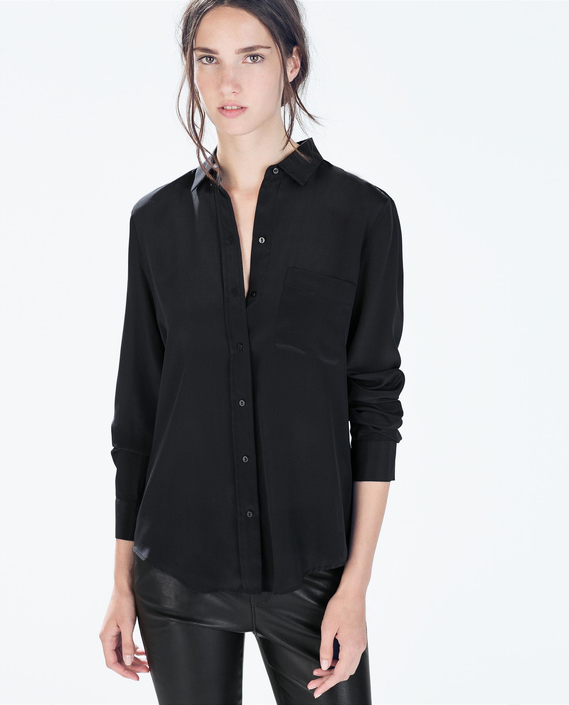Zara Silk Shirt in Black | Lyst