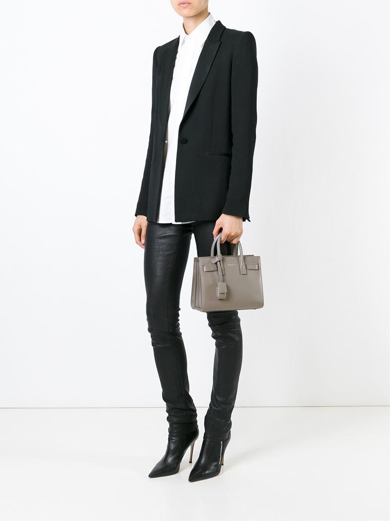Saint Laurent Nano Sac De Jour Tote In Gray Lyst