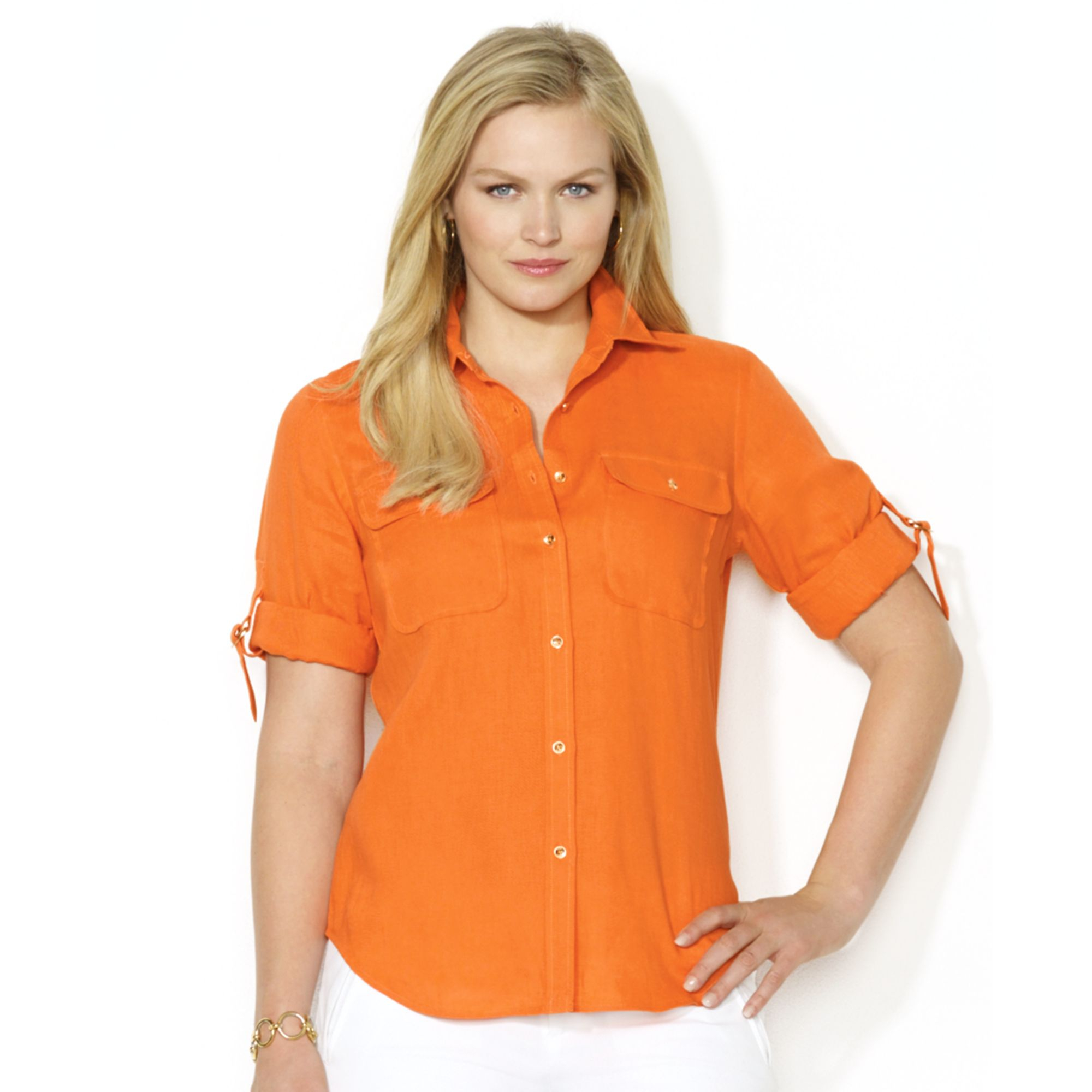 c8616acf905 Lyst - Lauren by Ralph Lauren Plus Size Tabsleeve Linen Shirt in Orange