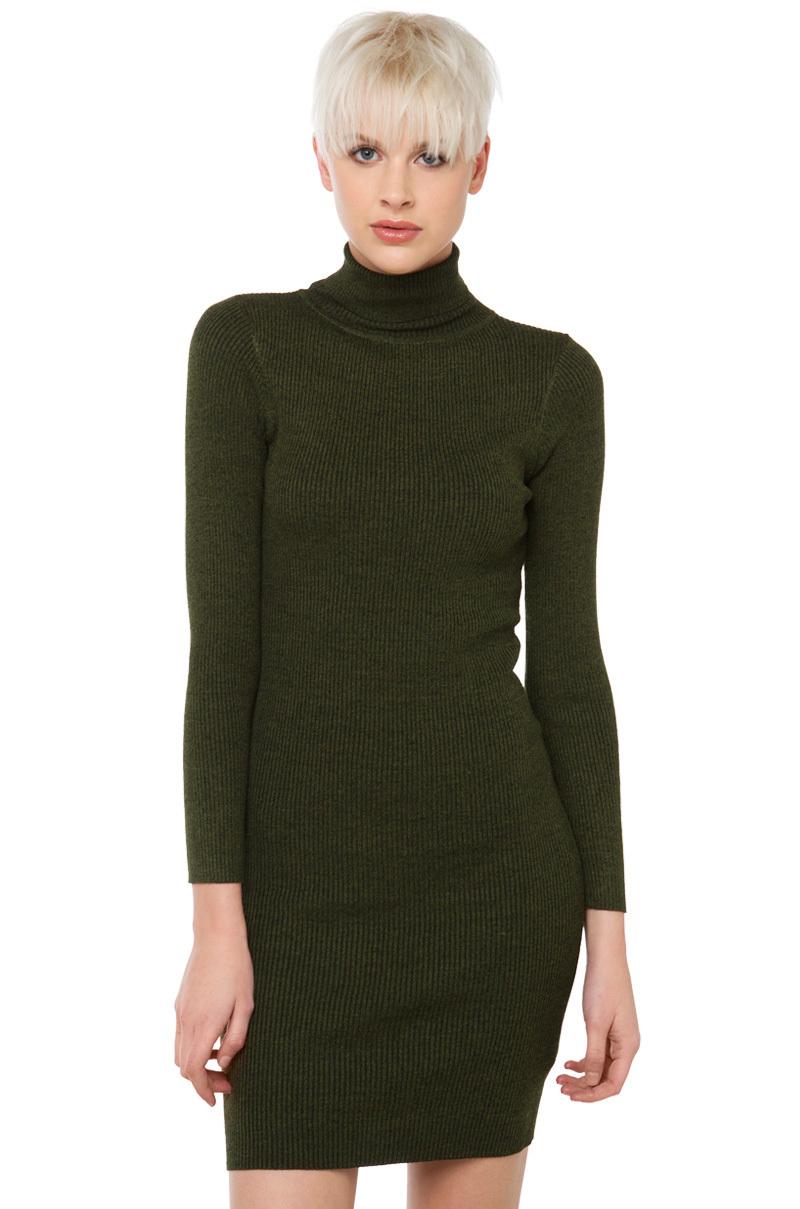5a6e058f1d AKIRA Turtleneck Long Sleeve Sweater Dress - Olive black in Green - Lyst