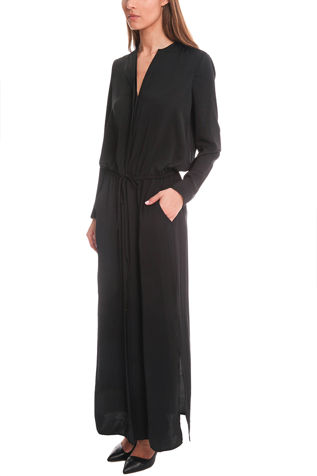 Lyst Vince Washed Satin Maxi Shirt Dress In Black
