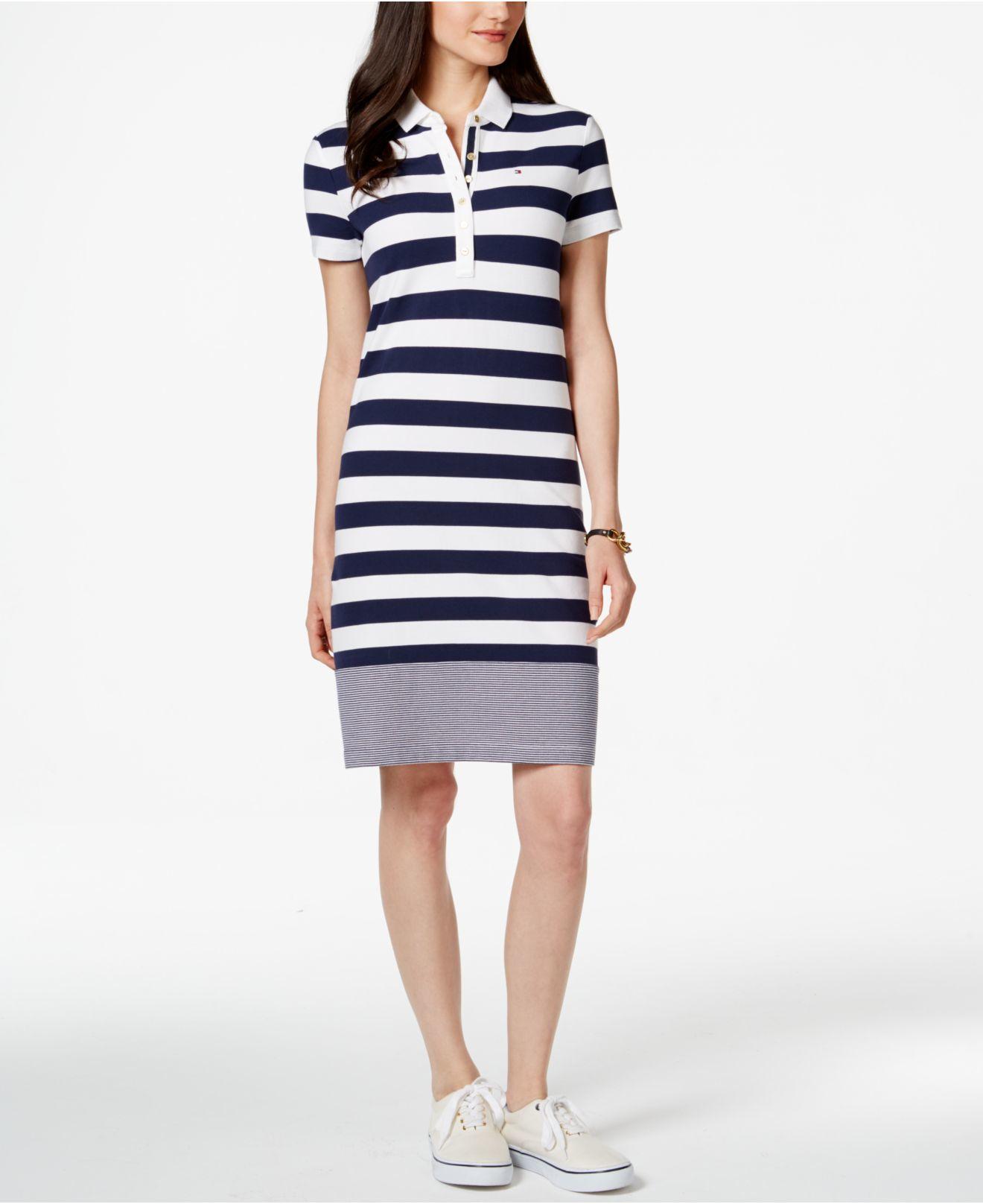 676f387c Tommy Hilfiger Miranda Short-sleeve Striped Polo Dress in White - Lyst