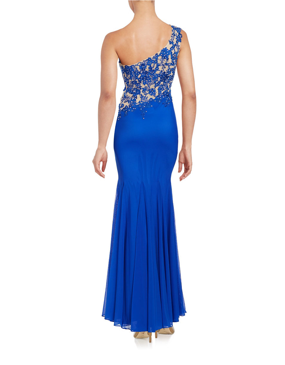 Lyst - Xscape One Shoulder Embroidered Gown