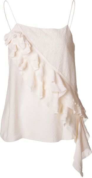 Vanessa Bruno Silk Ruffle Tank Top in Beige - Lyst