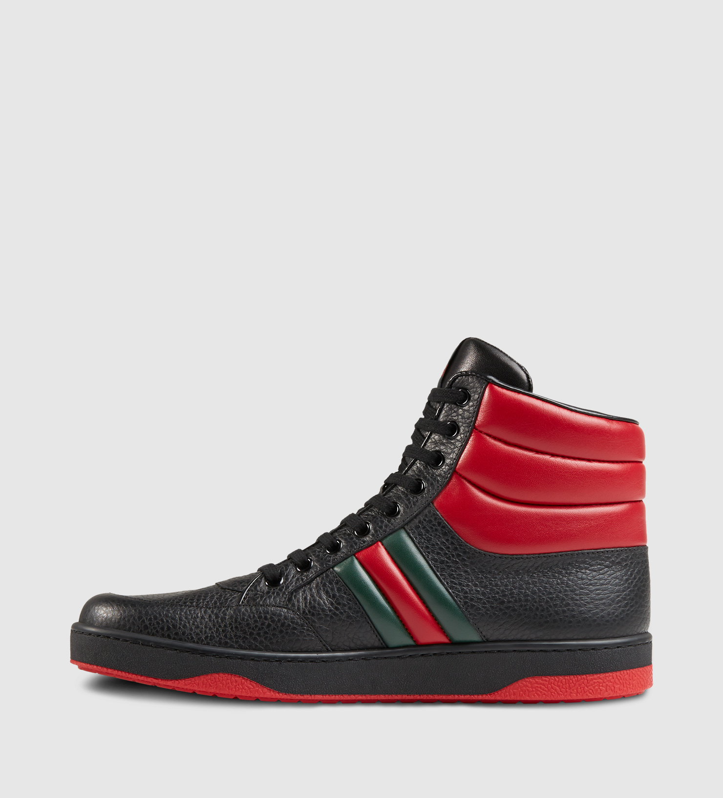 8cc38c5cb Gucci Contrast Padded Leather High-top Sneaker in Red for Men - Lyst