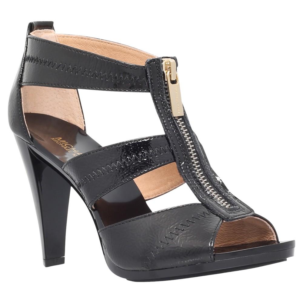 michael michael kors berkley zip front high heel sandals in black lyst. Black Bedroom Furniture Sets. Home Design Ideas