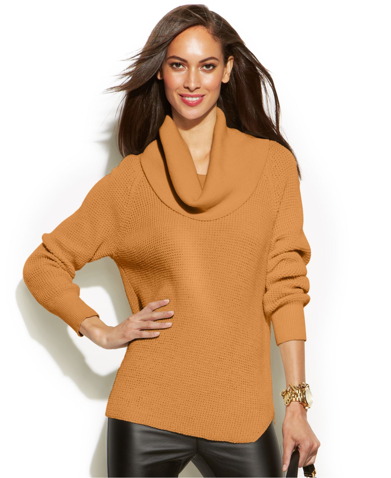 Michael kors Michael Petite Chunky Knit Cowl-Neck Sweater in Brown ...