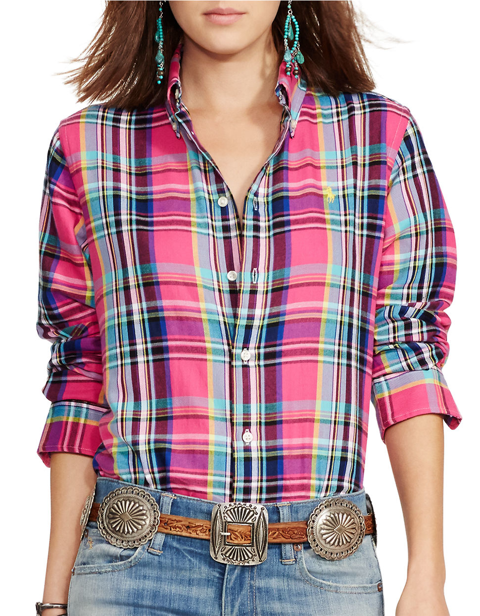 Lyst - Polo Ralph Lauren Plaid Cotton Twill Shirt in Pink