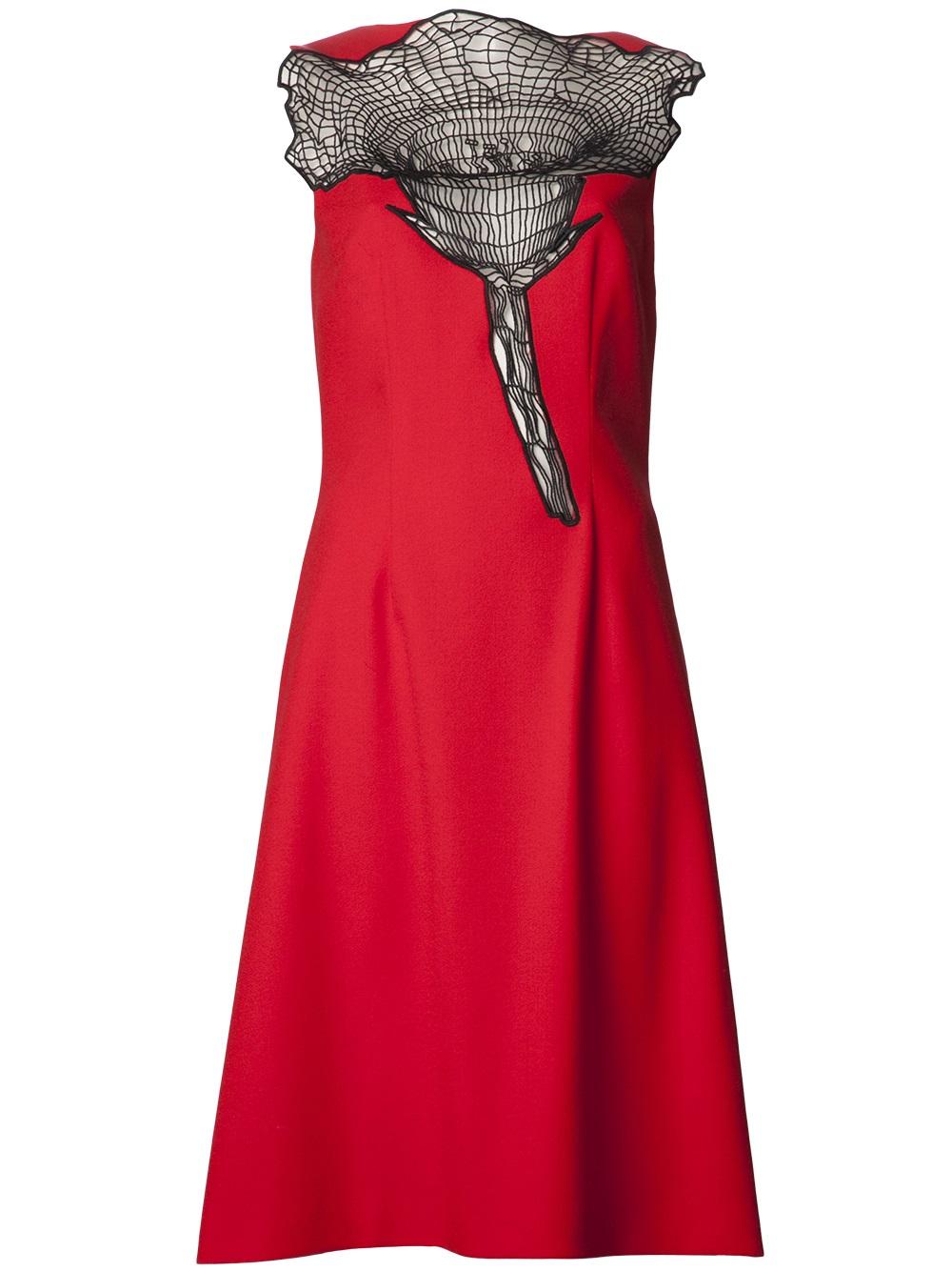 Lyst Christopher Kane Rose Crochet Dress In Red