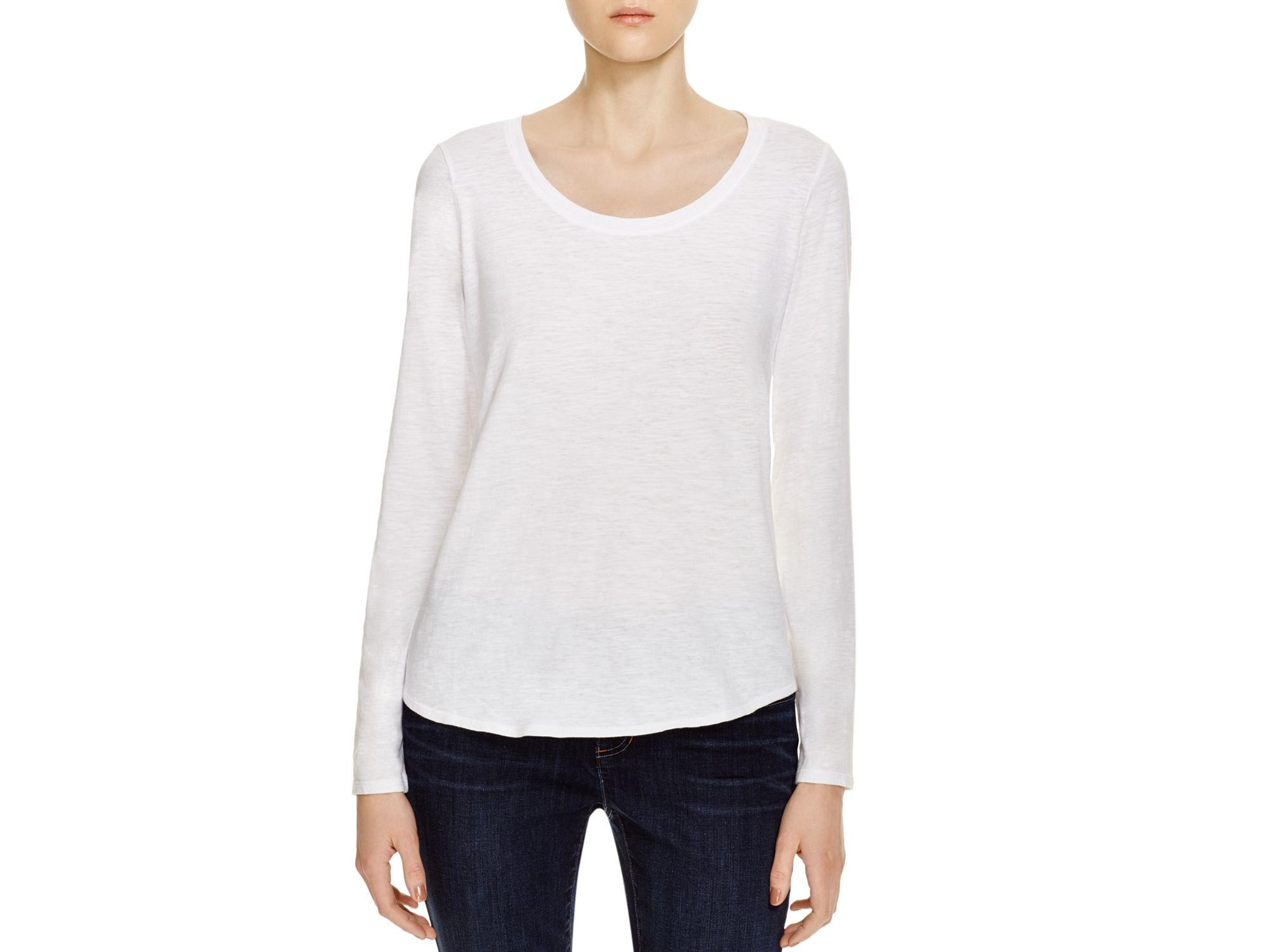 Lyst eileen fisher organic cotton scoop neck tee in white for Eileen fisher organic cotton t shirt