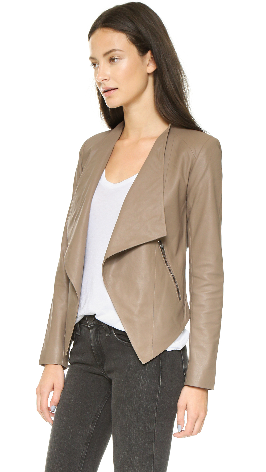 at drape suede zso faux jacket zappos in nyc sand women shipped blank stoner free drapes leather coats outerwear moto