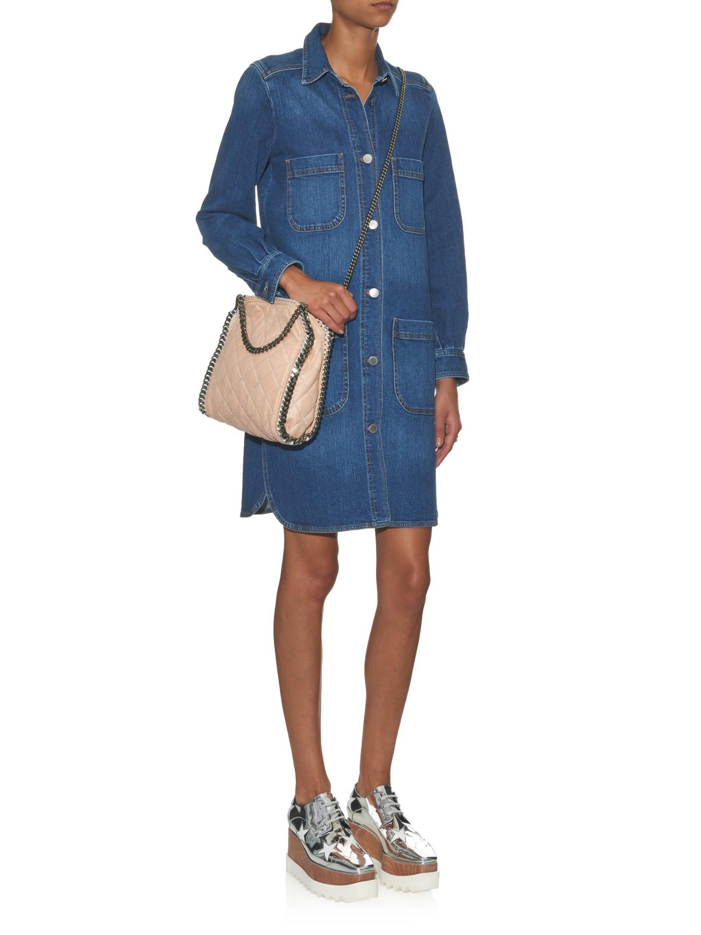 c049ad90da81 Stella McCartney Falabella Mini Quilted Cross-Body Bag in Natural - Lyst