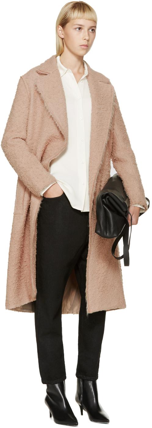 Black shaggy wool coat