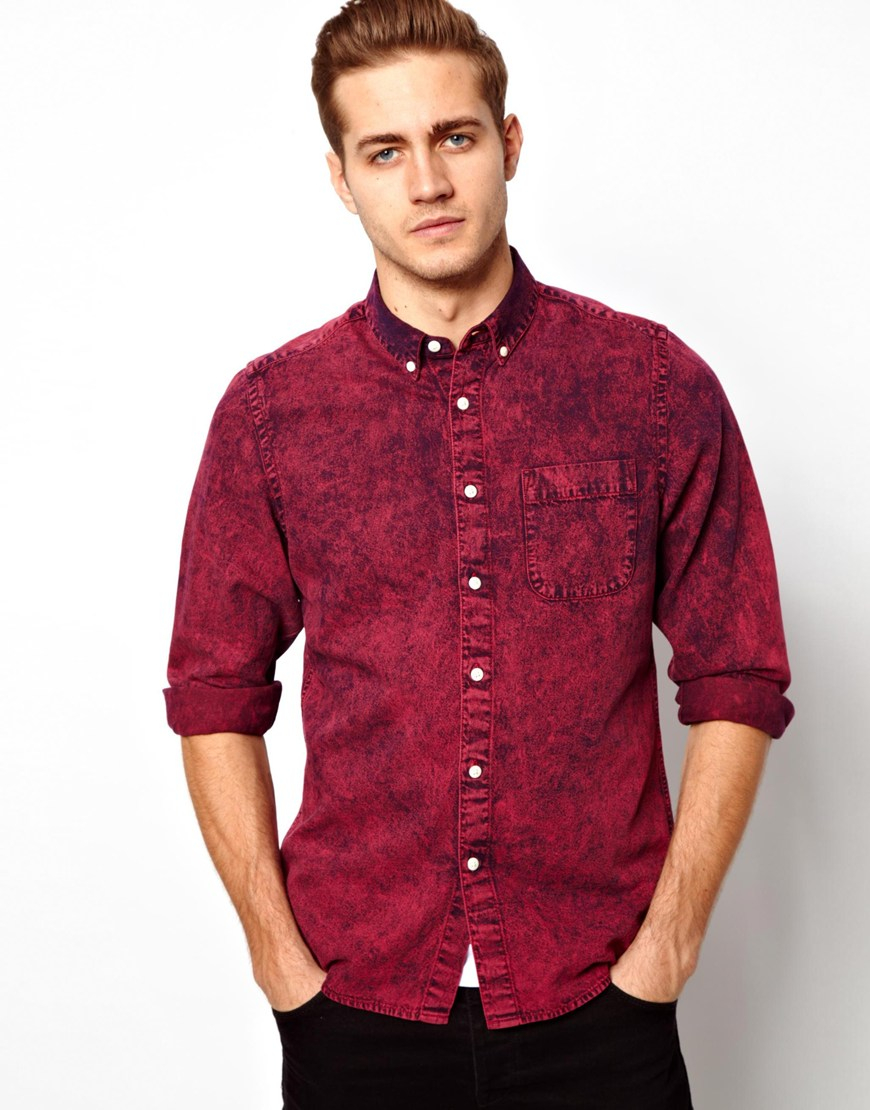 Asos Denim Shirt in Long Sleeve with Acid Overdye in Purple for ...