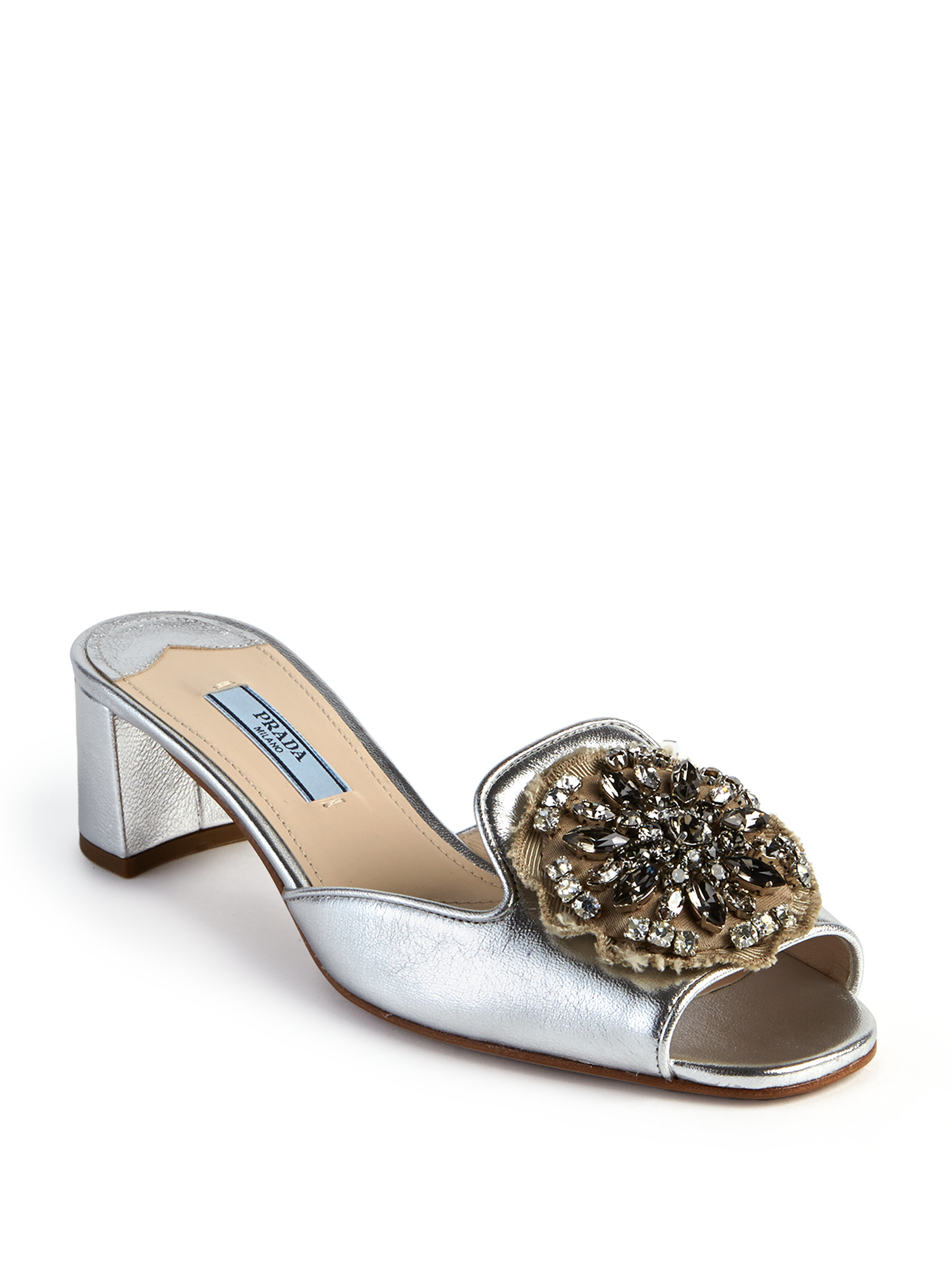 b1e526253eabd Lyst - Prada Embellished Metallic Leather Mule Sandals in White