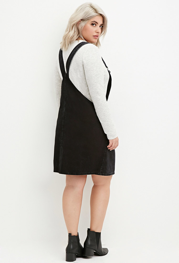 Lyst Forever 21 Plus Size Zip Front Overall Dress In Black