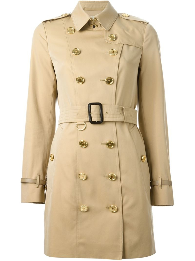 lyst burberry belted trench coat in natural. Black Bedroom Furniture Sets. Home Design Ideas