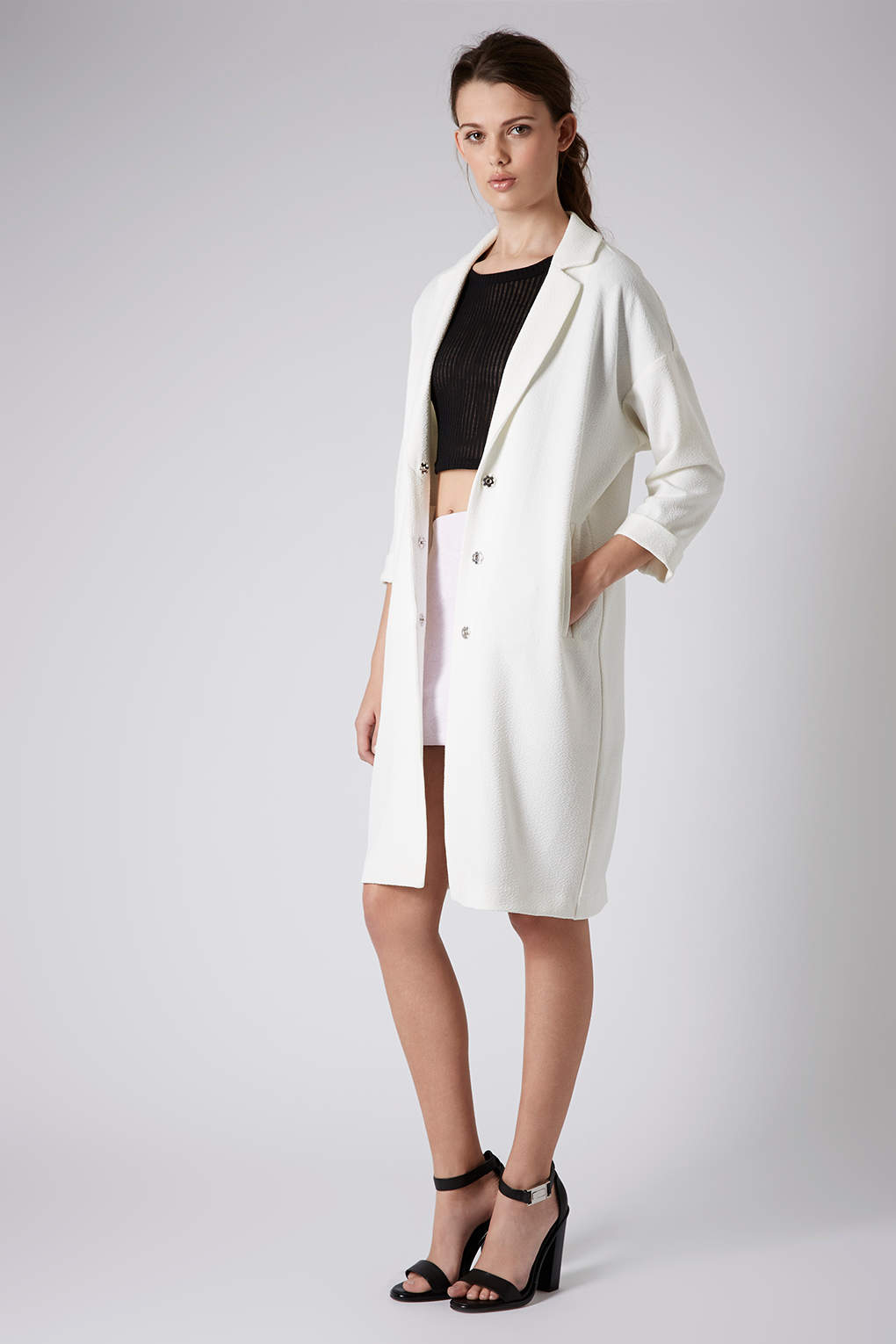 Lyst Topshop Textured Long Line Duster Coat In White