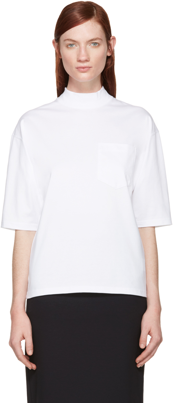 Lyst Hyke White Mock Neck T Shirt In White