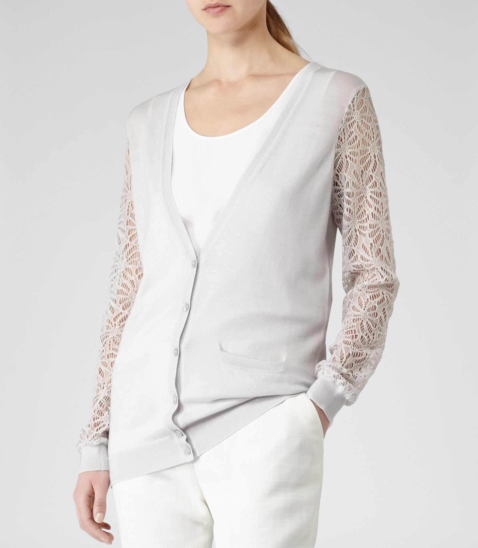 Reiss Brooke Lace Sleeve Cardigan in White | Lyst