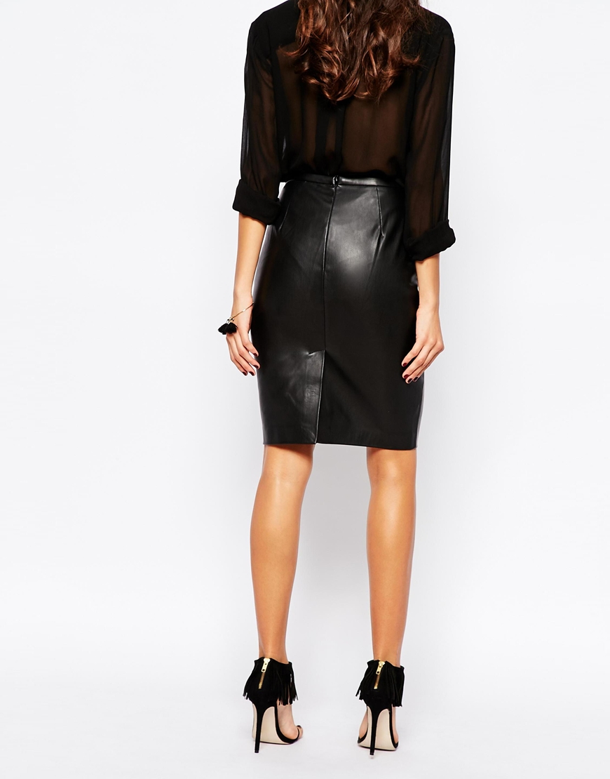Warehouse faux leather seamed pencil skirt in black. £ ASOS DESIGN leather look mini skirt with frill hem. £ ASOS DESIGN leather look wrap midi skirt. £ Missguided Faux Leather Mini Skirt. £ ASOS DESIGN Curve Leather Look Pencil Skirt. £