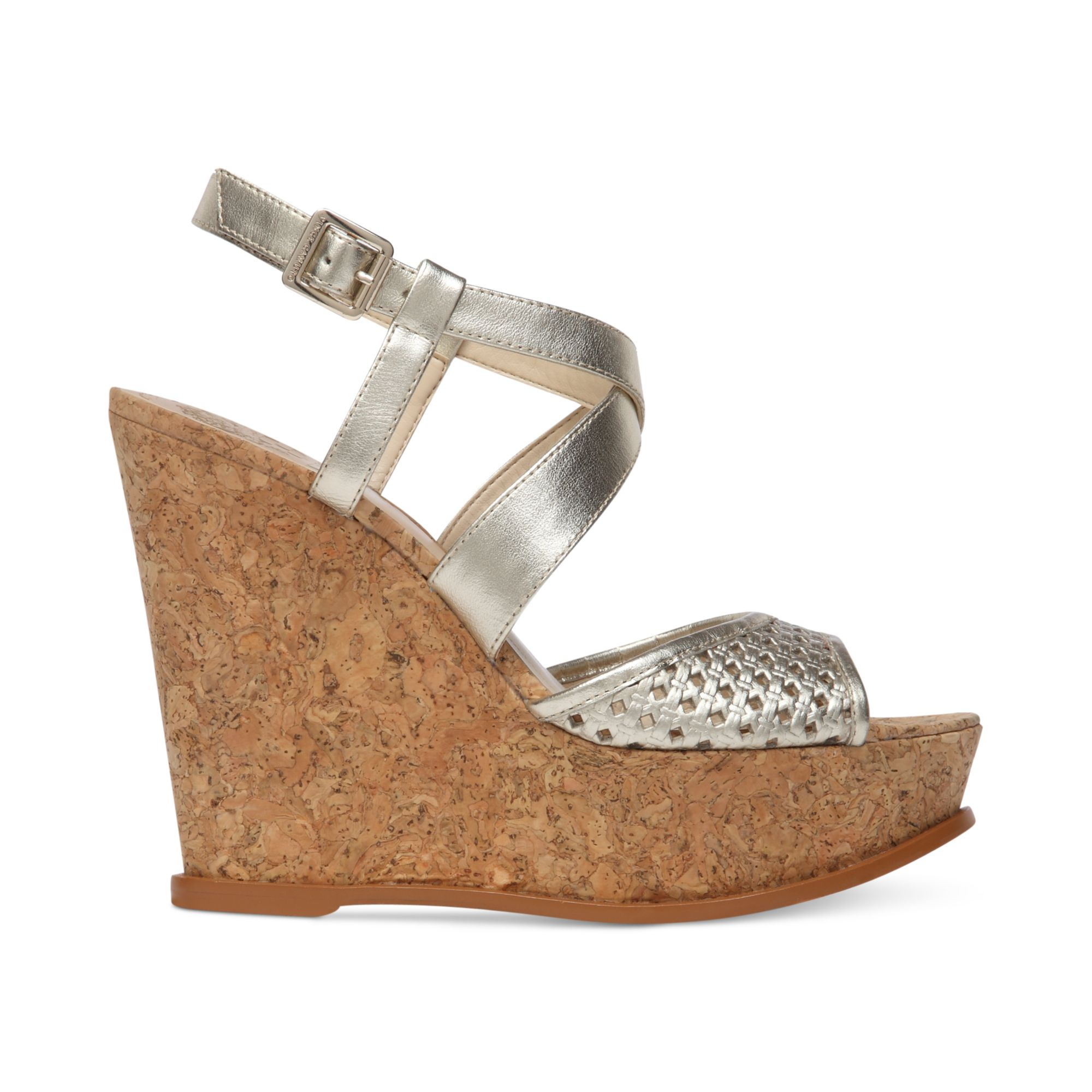 Vince Camuto Ilario Platform Wedge Sandals In Gold Light