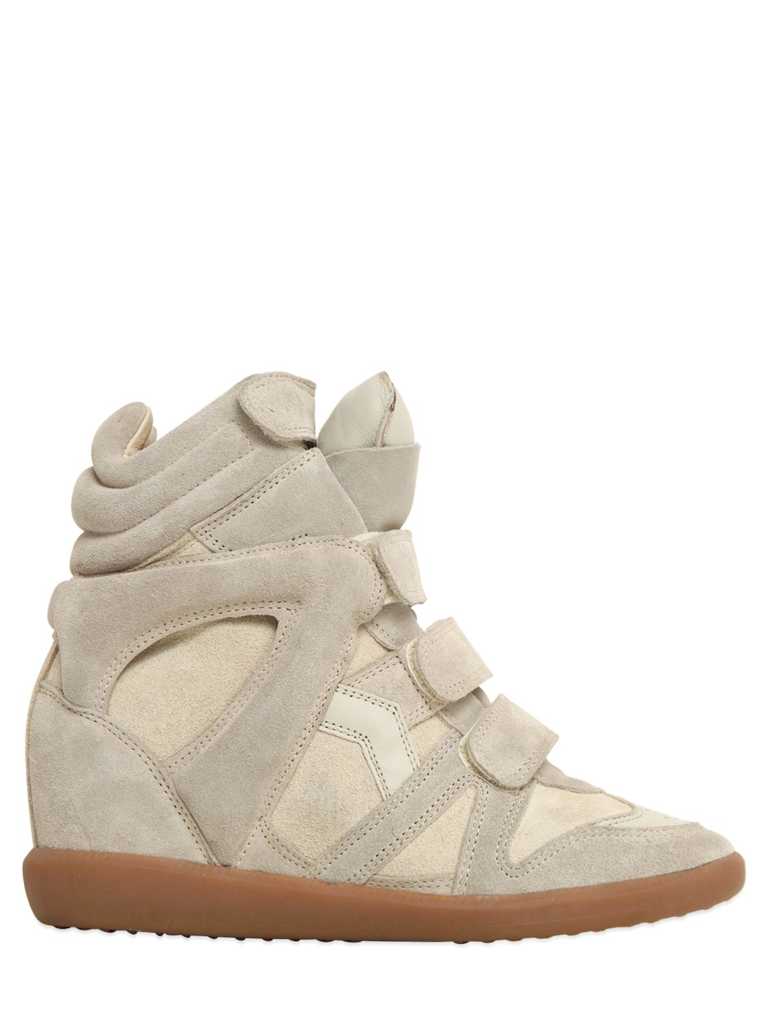 isabel marant etoile 80mm bekett suede wedge sneakers in multicolor ecru lyst. Black Bedroom Furniture Sets. Home Design Ideas