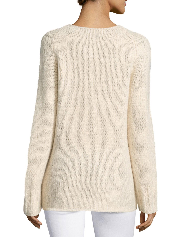 donna karan v neck cashmere blend sweater in natural lyst. Black Bedroom Furniture Sets. Home Design Ideas