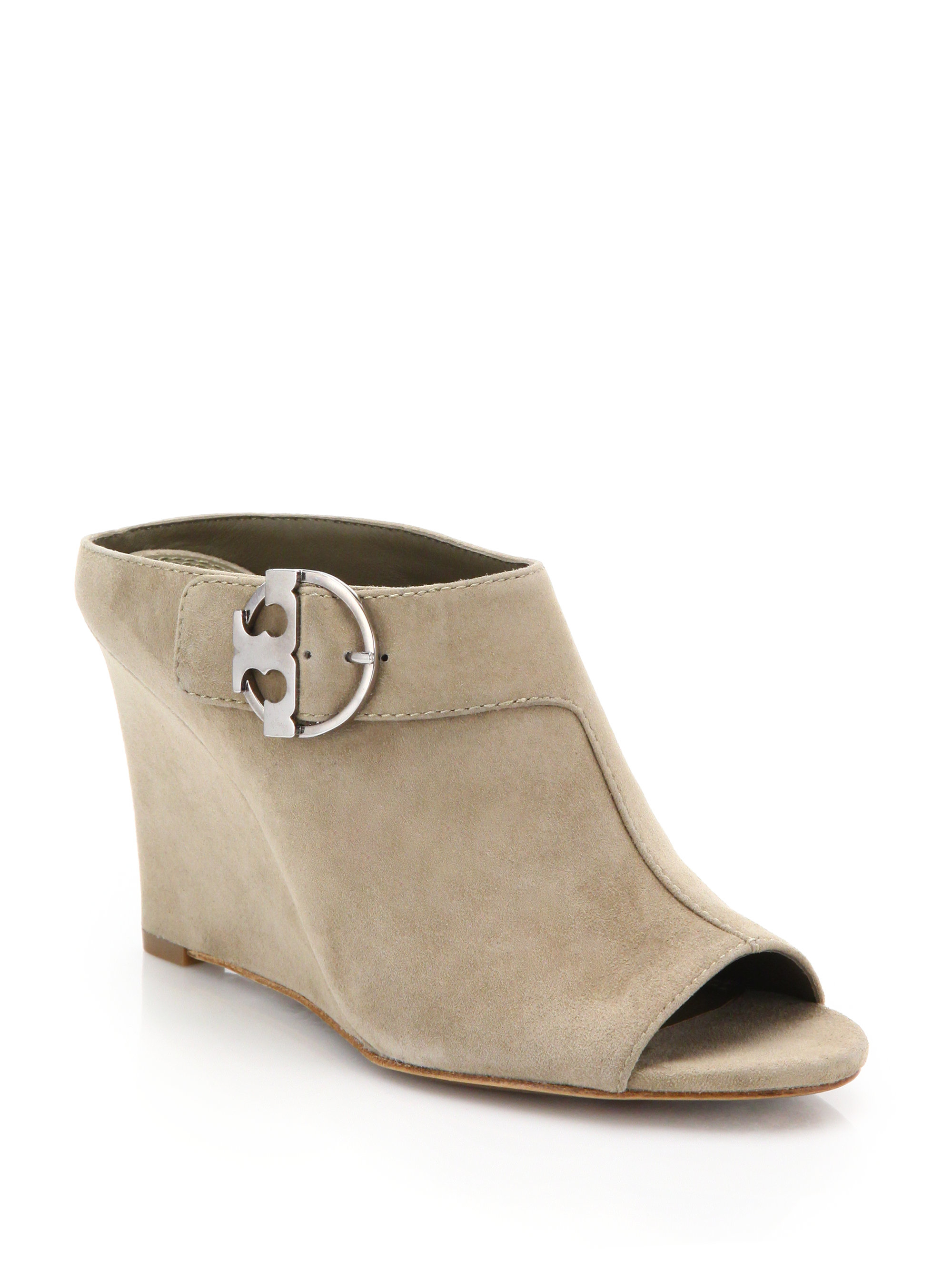 bc5594b8a6a3e0 Lyst - Tory Burch Thames Suede Wedge Mule Sandals in Natural