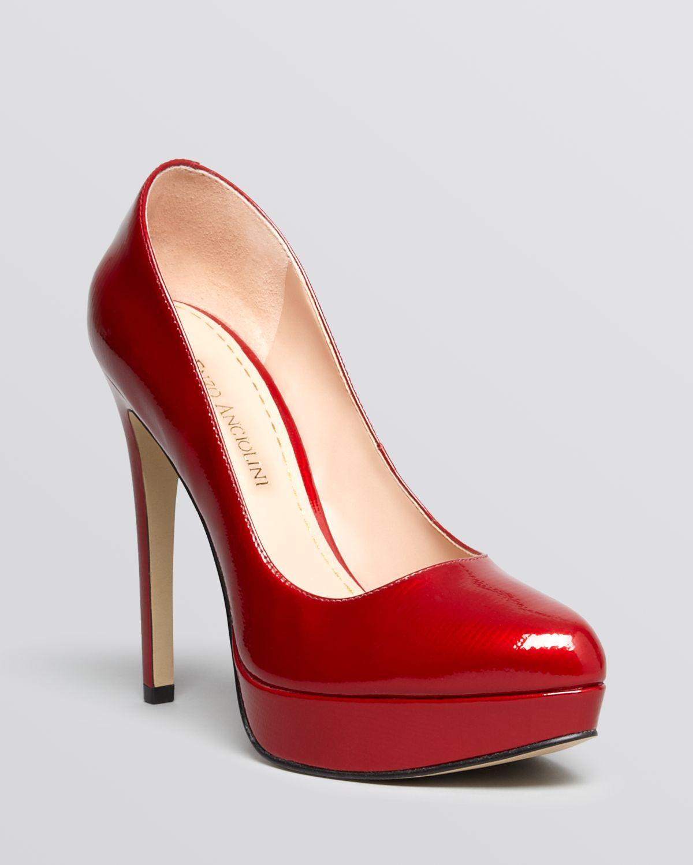 Enzo angiolini Almond Toe Platform Pumps Arlee High Heel in Red | Lyst